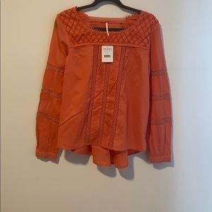Free People beaded embroidered top